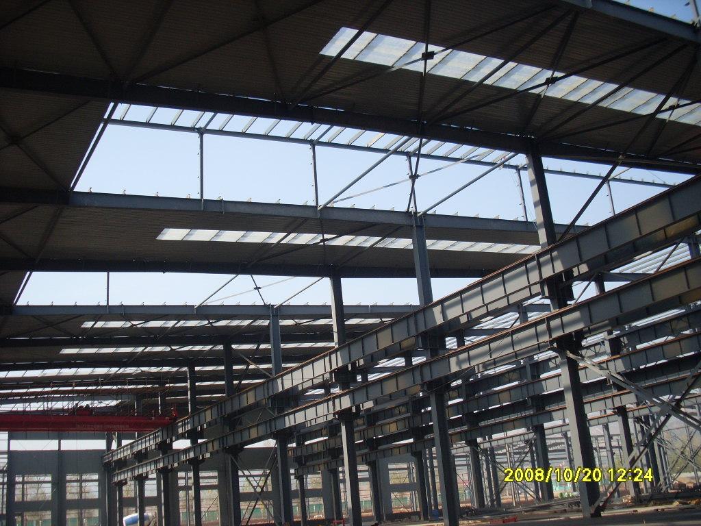 厂房主体钢结构横梁已上完(点击查看大图): 变电房:    锅炉房: 食堂